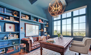 地中海风格蓝色经典书房设计装修效果图