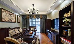 132平米简约美式风格三室两厅室内装修效果图案例