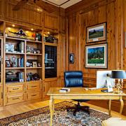美式风格精致复古书房设计装修效果图