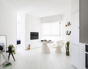 71平米现代简约风格白色经典单身公寓装修效果图