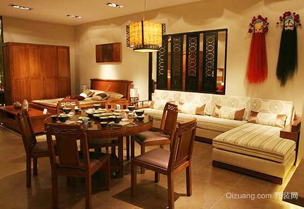 中式风格经典古色古香三室两厅室内装修效果图案例