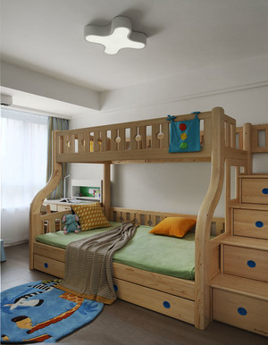现代简约风格双层床儿童房设计效果图