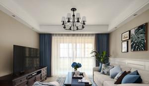 美式风格时尚精美客厅窗帘设计装修效果图