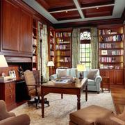 欧式风格别墅室内复古书房设计装修效果图