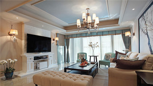 新中式风格典雅时尚大户型室内装修效果图案例
