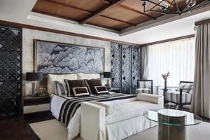 新中式风格大户型优雅卧室背景墙装修效果图