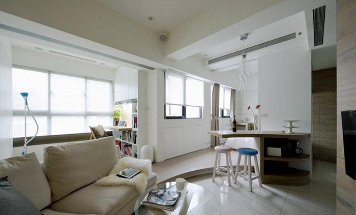 69平米现代简约风格一居室小户型装修效果图案例