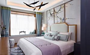 新中式风格温馨典雅卧室背景墙装修效果图