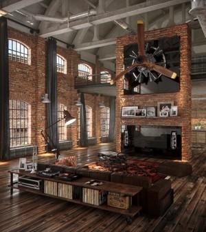 后现代风格工业风客厅设计装修效果图大全