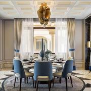 新古典主义风格别墅室内精美餐厅设计装修效果图