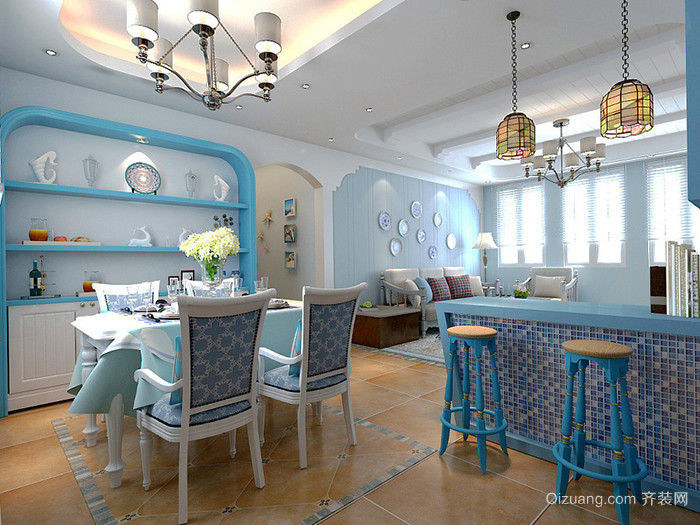 80平米地中海风格清新室内装修效果图