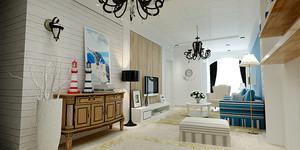 67平米地中海风格简约一居室室内装修效果图