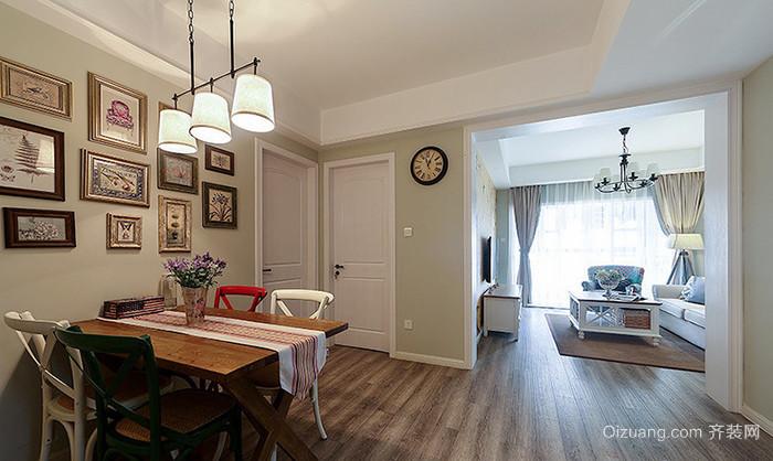美式田园风格精美两室两厅室内装修效果图案例