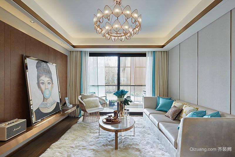 133平米新古典主义风格时尚三室两厅室内装修效果图