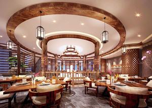 中式风格古典精致餐厅设计装修效果图