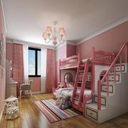 欧式风格粉色甜美双层床儿童房装修效果图