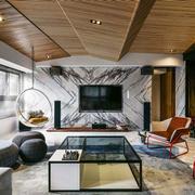 后现代风格大户型客厅电视背景装修效果图