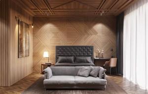 现代风格时尚木质卧室背景墙装修效果图大全