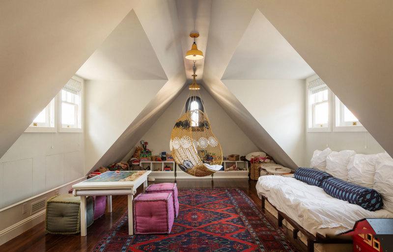 美式风格精美斜顶阁楼设计装修效果图