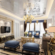 新古典主义风格大户型精美客厅设计装修效果图