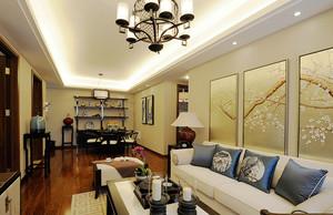 中式风格典雅古色古香三室两厅室内装修效果图