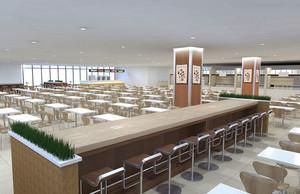 现代风格办公室员工餐厅装修效果图