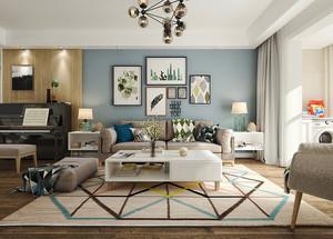 79平米北欧风格清新两室两厅室内装修效果图