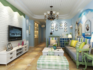 80平米地中海风格清新室内装修效果图赏析