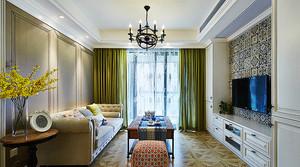 122平米美式风格精美两室两厅室内装修效果图