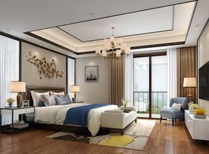 新中式风格典雅精美卧室背景墙装修效果图