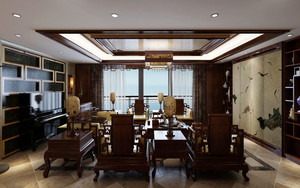 120平米中式风格古典精致室内装修效果图案例