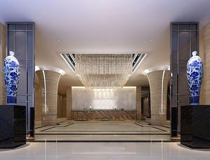 新中式风格酒店大堂设计装修效果图