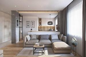 55平米现代简约风格精致单身公寓装修效果图