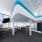 现代简约风格时尚健身房设计装修效果图