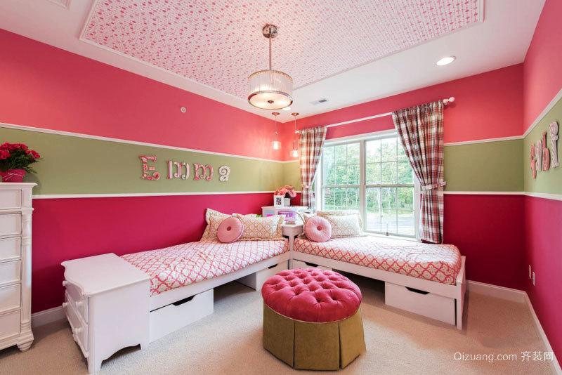 欧式风格浪漫粉色儿童房设计装修效果图