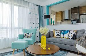 85平米清新风格时尚两室两厅室内装修效果图