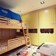20平米现代简约双层床儿童房装修效果图