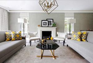 欧式风格精美大户型客厅壁炉装修效果图