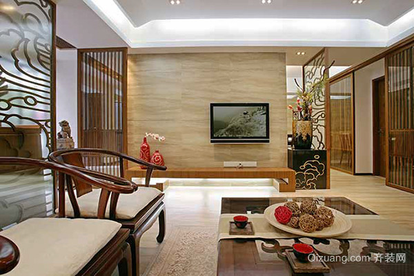 中式风格优雅精致两室两厅室内设计装修效果图