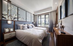 中式风格素雅优美卧室背景墙装修效果图