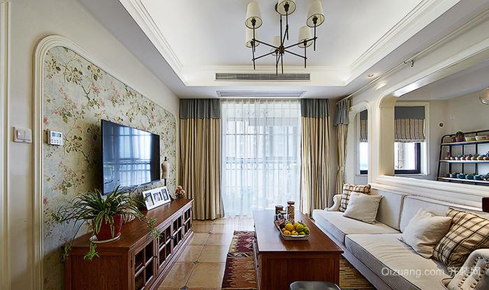 124平米美式风格小清新三室两厅室内装修效果图