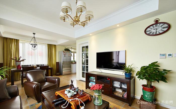 110平米美式混搭风格精致两室两厅室内设计效果图
