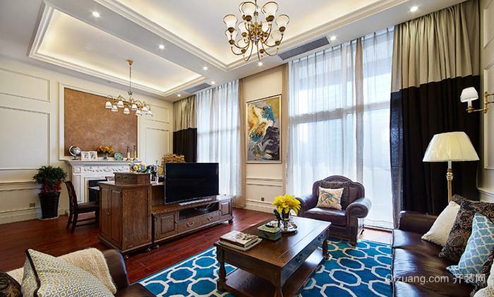 美式乡村风格精致三室两厅室内装修效果图案例