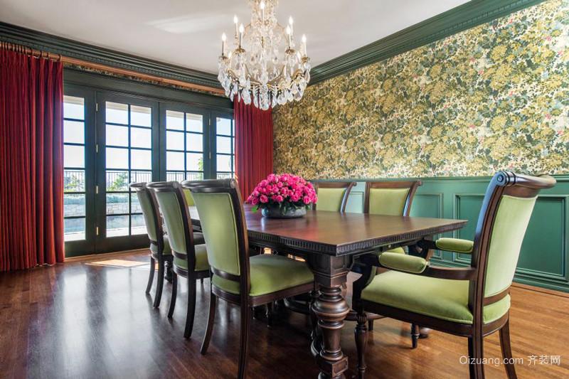 新古典主义风格大户型餐厅背景墙装修实景图