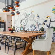 新中式风格精美雅致餐厅背景墙装修效果图