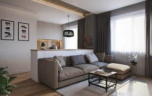 46平米简约风格白色单身公寓装修效果图案例