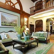 美式混搭风格别墅客厅背景墙装修效果图