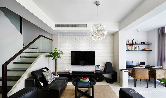 174平米现代简约风格精装复式楼装修效果图