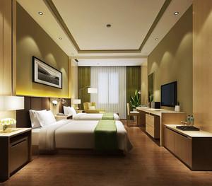 现代风格精装酒店标准间装修效果图赏析