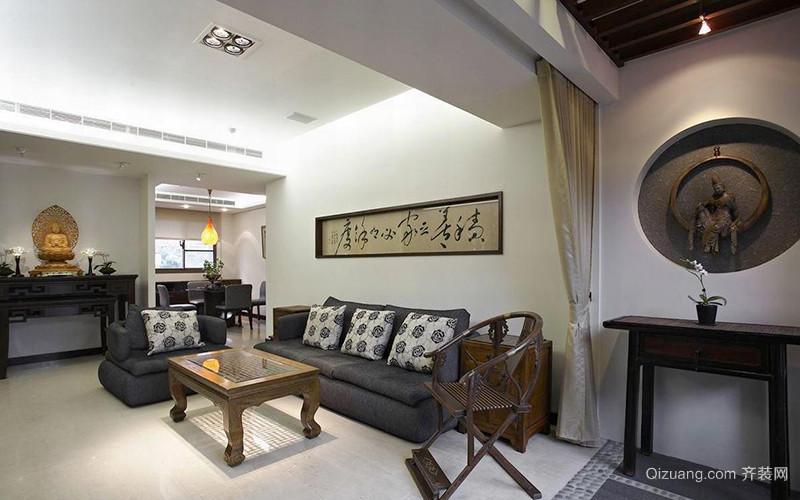 79平米简约中式风格两室两厅装修效果图